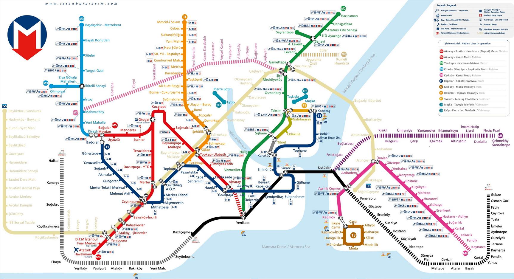 İstanbul toplu taşım haritası